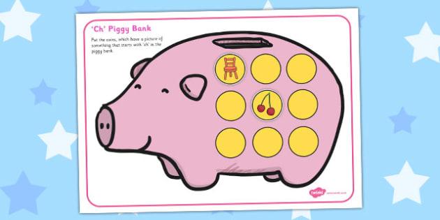 Ch Phonics Piggy Bank Activity - ch, phonics, piggy bank, activity