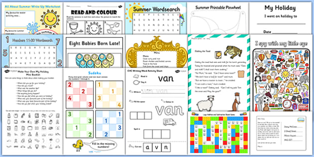 KS1 Summer Holiday Homework Pack - End of the School Year Summer Activities