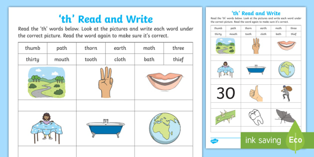 th' Read and Write Worksheet - Phonics, digraph, grapheme ...