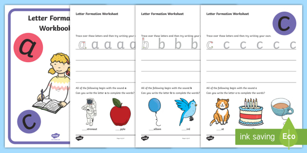 Letter Formation Workbook Handwriting Booklet