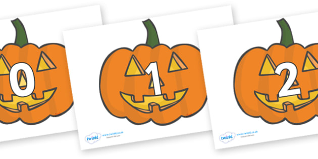 Numbers 0-100 on Jack O'lanterns - 0-100, foundation stage numeracy, Number recognition, Number flashcards, counting, number frieze, Display numbers, number posters