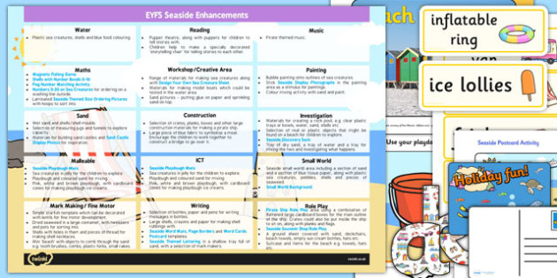 EYFS Seaside Themed Enhancement Ideas and Resources Pack - planning, seaside
