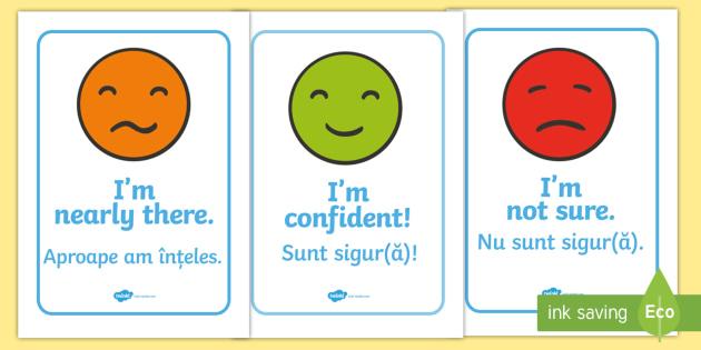 Emotion Communication Display Posters Romanian/English - Emotion Communication Display Posters, Communication, emotions, communication cards, traffic lights,