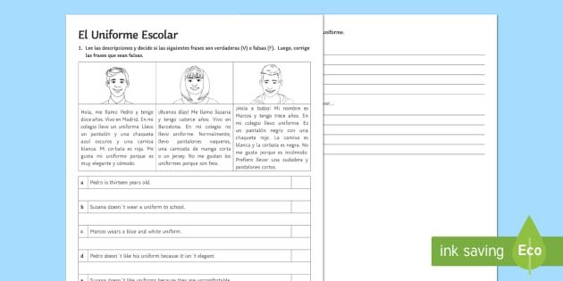 School Uniform Reading Comprehension Activity Sheet - Spanish Reading Comprehensions, school uniform, clothes,
