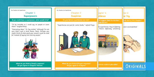 KS2 Superhero Story Discussion Cards - speaking and