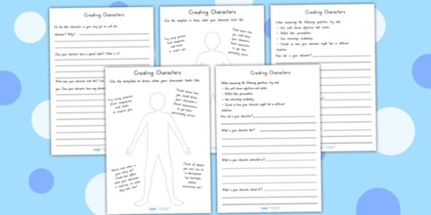 Creating A Character Worksheets - characters, stories, design