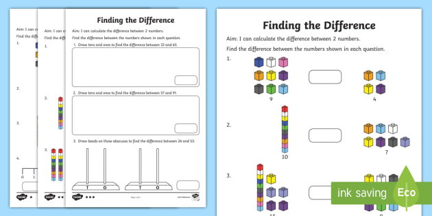 Year 2 Finding the Difference Differentiated Worksheet ...