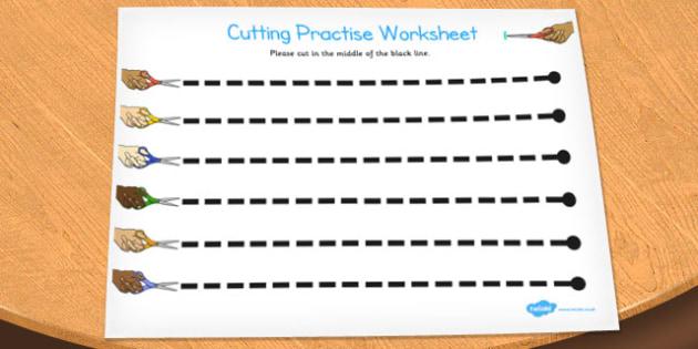 Visual Perception Cutting Worksheet - cutting, worksheet, visual