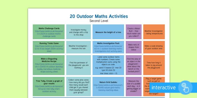 Marvellous Maths Week Outdoor Activities Second Level Plan