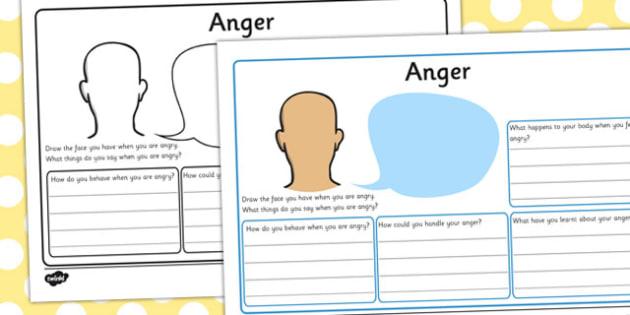Anger Worksheet - anger, worksheet, angry, feelings, drawing, writing