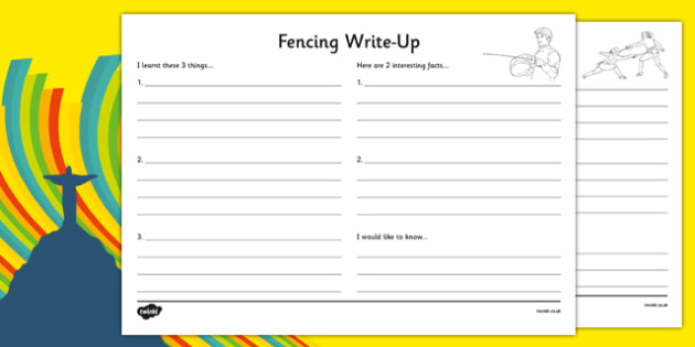 The Olympics Fencing Write Up Worksheet - the olympics, rio olympics, 2016 olympics, rio 2016, fencing, write up