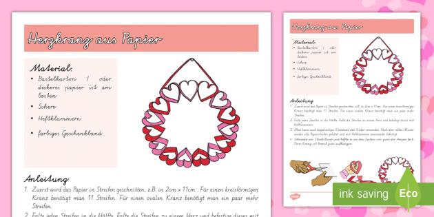 Herzkranz aus Papier Papiermodell - DE Valentinstag, Vorschule