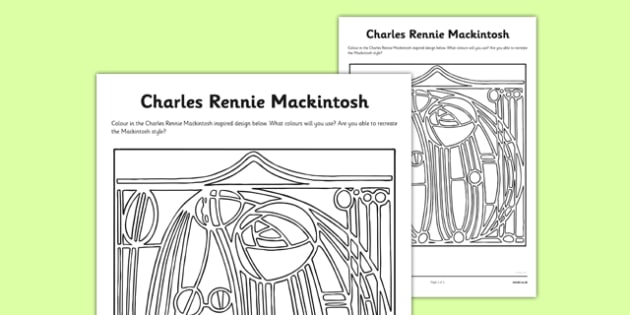 Charles Rennie Mackintosh Colouring Sheet - cfe, charles rennie mackintosh, colouring, sheet