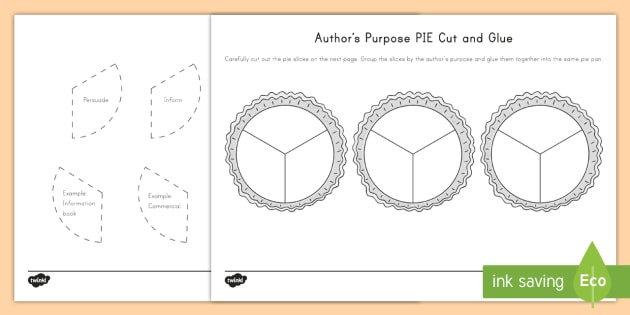Author 39 S Purpose Pie Cut And Glue Worksheet Worksheet