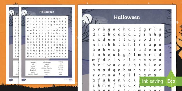 Halloween Word Search Gaelic-Scottish
