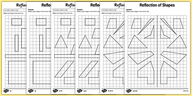 Reflection of Shapes Activity Sheet Pack - KS2, Key Stage 2, Year 5, reflect, reflection, worksheet, congruent, congruence