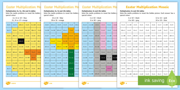 Easter Themed Multiplication Mosaic Worksheet / Activity