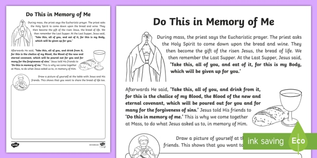 Do This In Memory Of Me Worksheet Activity Sheet Confession