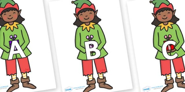 A-Z Alphabet on Elves - A-Z, A4, display, Alphabet frieze, Display letters, Letter posters, A-Z letters, Alphabet flashcards