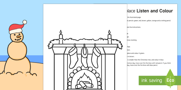 Christmas Fireplace Listen and Colour Activity Sheet