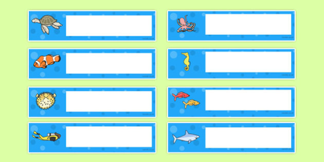 Under the Sea Themed Editable Gratnells Tray Labels - tray labels