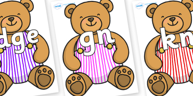 Silent Letters on Dungaree Teddy - Silent Letters, silent letter, letter blend, consonant, consonants, digraph, trigraph, A-Z letters, literacy, alphabet, letters, alternative sounds