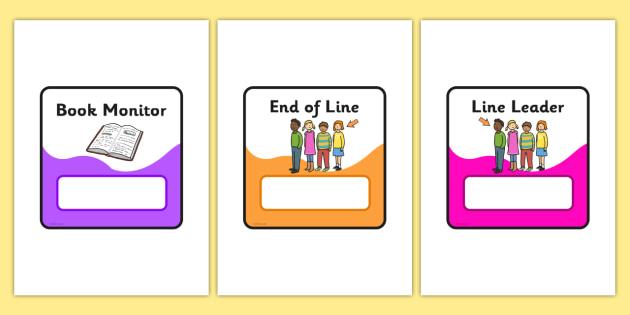 Monitor & Job Cards - Pupil job cards, job badges, monitors, classroom monitors, pupil jobs, helpers, job labels, Foundation Stage Labels, Teaching Labels