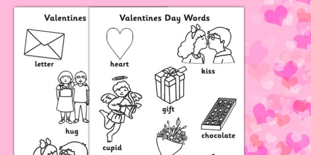 Valentines Day Words Colouring Sheets - valetines, colouring