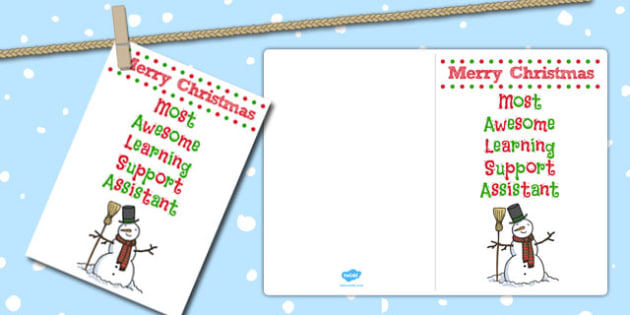 Most Awesome Learning Support Assistant Christmas Card - card