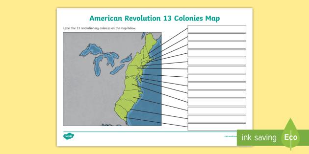American Revolution 13 Colonies Map - Colonies, American Revolution
