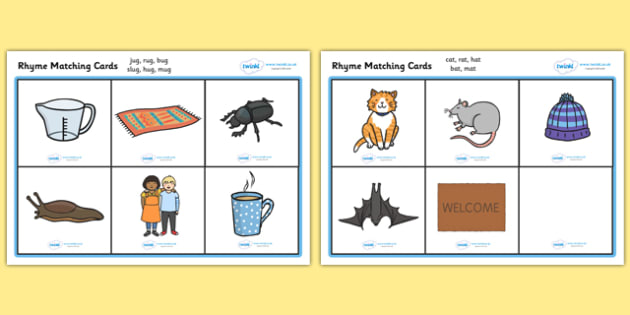 Rhyme Matching Game - Rhyming strings, rhyme, rhyme game, rhyme activity, literacy game, word game