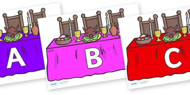 A-Z Alphabet on Dining Tables (Multicolour) - A-Z, A4, display, Alphabet frieze, Display letters, Letter posters, A-Z letters, Alphabet flashcards