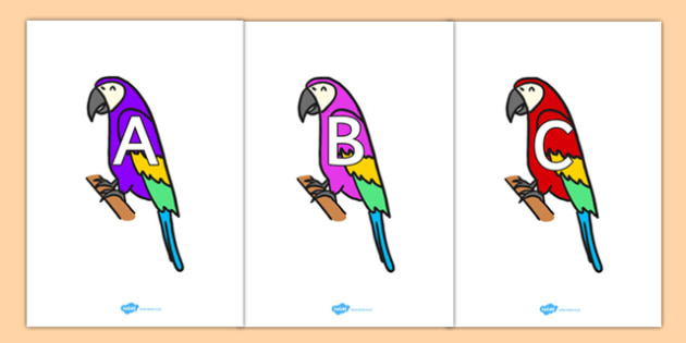 A-Z Alphabet on Macaws - A-Z, A4, display, Alphabet frieze, Display letters, Letter posters, A-Z letters, Alphabet flashcards