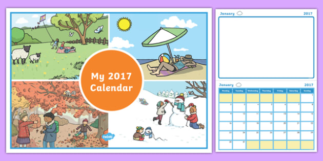 2017 Calendar with Colouring Space - 2017, calendar, colouring, colour, space