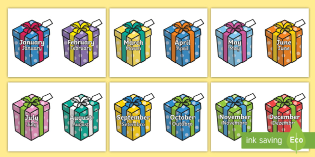 Months of the Year on Birthday Presents portuguese translation - English/Portuguese - Months of the Year on Birthday Presents - Months poster, Months display, Months of the year, birthda