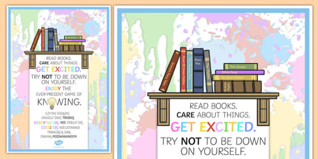 Read Books Care About Things Motivational Poster Polish Translation - polish, read, books