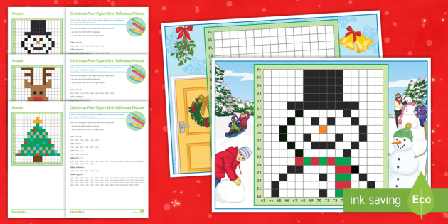 Christmas Four Figure Grid Reference Worksheet Activity Sheets Maps Plotting Ks3