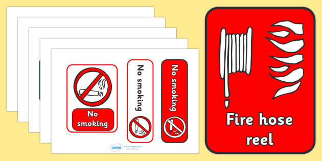 Fire Safety Signs - Fire station Role Play, fire station, fire station resources, fire service, fire fighter, fire man, fire engine, people who help us, emergency, fire hose, fireman's pole, helmet, siren, fire, role play, display, poster