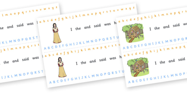 Alphabet Strips (Fantasy) - Alphabet, Learning letters, Writing aid, Writing Area, fantasy, teddy bear, mermaid, fairy, pirates