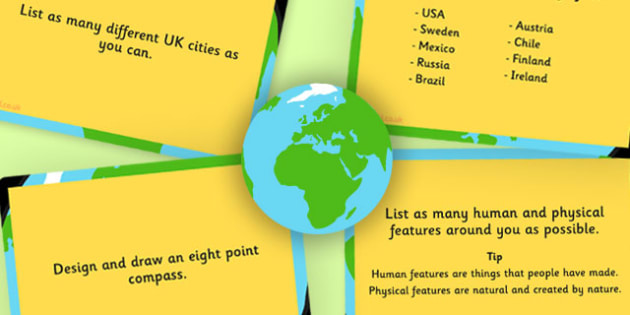 LKS2 Geography Challenge Cards - Geography, Challenge, Test