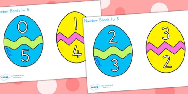 Easter Egg Number Bonds To 5 - easter, easter egg, number bonds