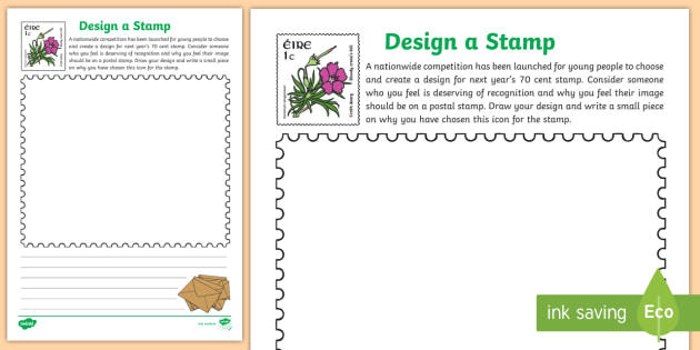 black and white design your own postal stamp activity sheet