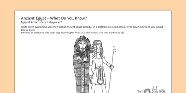 Ancient Egypt Mind Map Worksheet / Activity Sheets Romanian Translation - egypt, mind map, worksheet, egipt, thought shower, eygpt, egyot