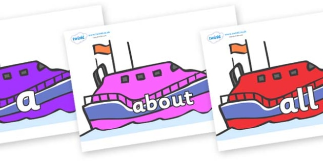100 High Frequency Words on Lifeboats - High frequency words, hfw, DfES Letters and Sounds, Letters and Sounds, display words