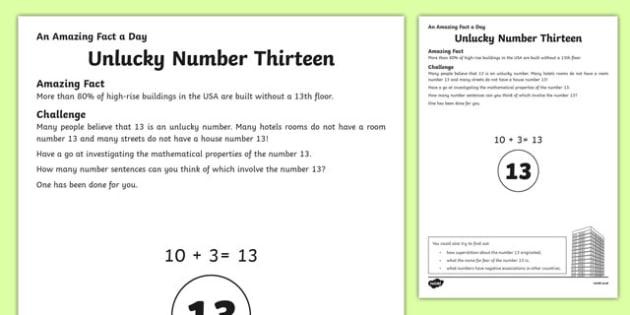 Unlucky Number Thirteen Activity Sheet, worksheet
