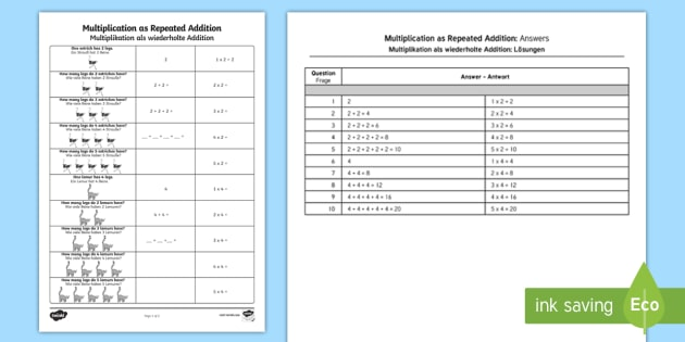 Multiplication as repeated addition worksheet activity sheet multiplication as repeated addition worksheet activity sheet englishgerman multiplication as repeated addition ibookread PDF