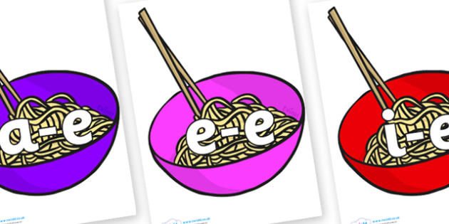 Split Digraphs on Chinese Noodles - Modifying E, letters, modify, Phase 5, Phase five, alternative spellings for phonemes, DfES letters and Sounds