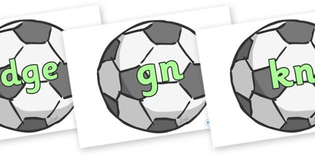 Silent Letters on Footballs - Silent Letters, silent letter, letter blend, consonant, consonants, digraph, trigraph, A-Z letters, literacy, alphabet, letters, alternative sounds