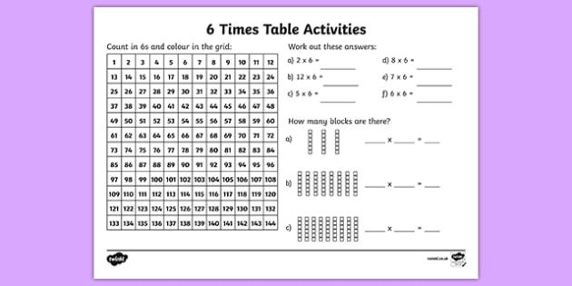 6 times table worksheet activity sheet six times table 6 times table worksheet activity sheet six times table maths mathematics ibookread Download