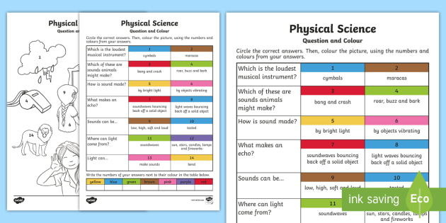 year 1 physical science questions and colouring worksheet worksheets. Black Bedroom Furniture Sets. Home Design Ideas